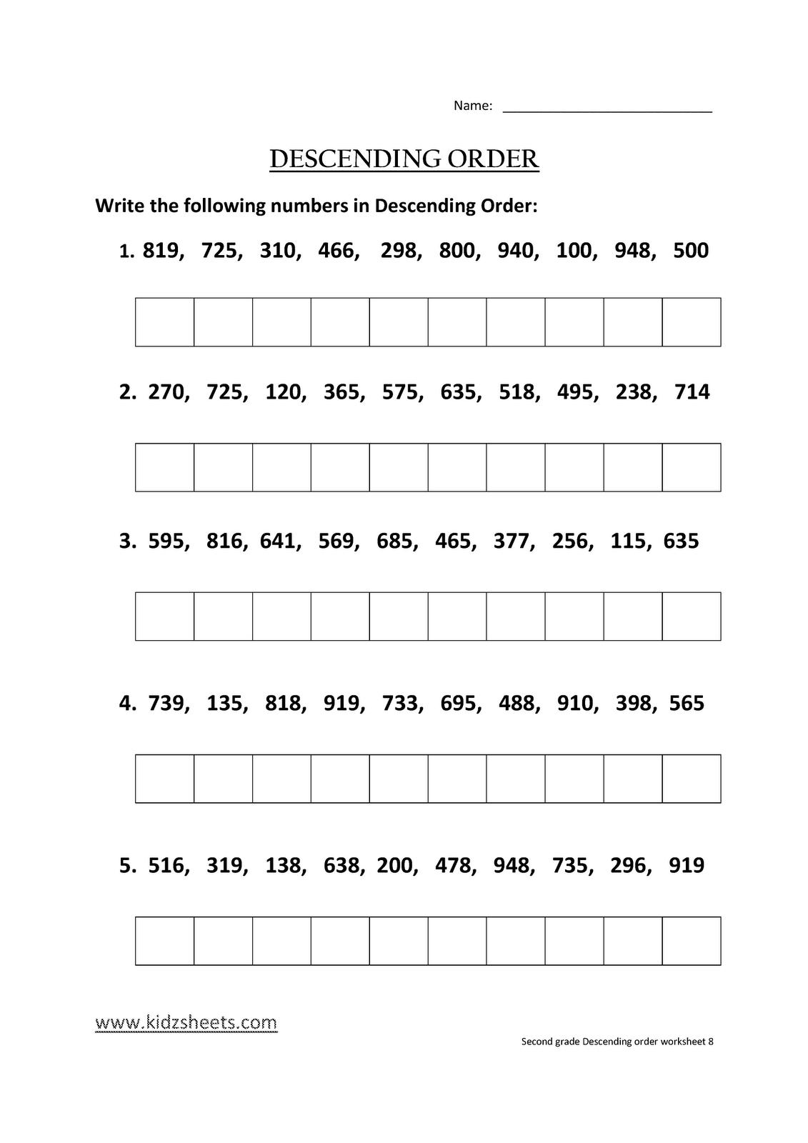Kidz Worksheets Second Grade Descending Order Worksheet8