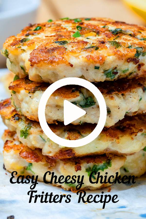 Cheesy Chicken Fritters always get glowing reviews. If you love easy chicken recipes, this is your recipe! Easy, juicy, flavorful cheesy chicken fritters! #chicken #chickenrecipes #easyrecipes