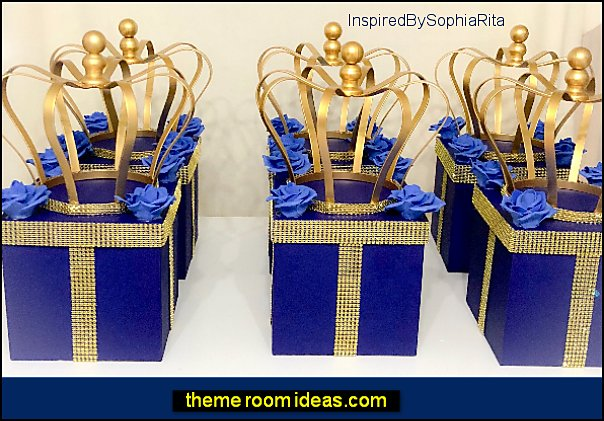Royal Prince Crown Centerpiece Box  Royal Blue Gold Bling  Royal Prince Baby Showers, Birthdays, Christening