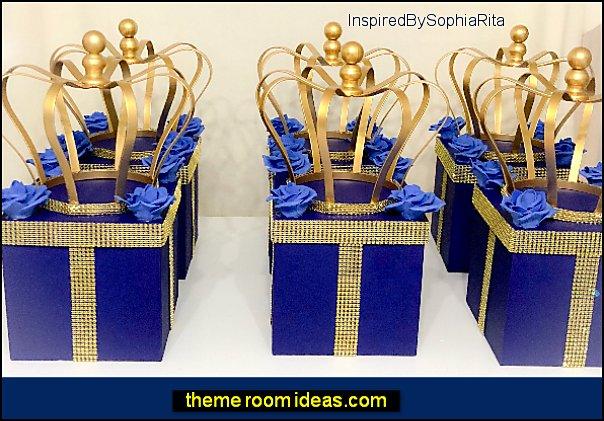 Royal Prince Crown Centerpiece Box  Royal Blue Gold Bling  Royal Prince Baby Showers, Birthdays, Christening