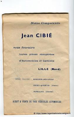 La Bourrée du Massif Central, programme 1938, J. Cibiè pièces automobiles