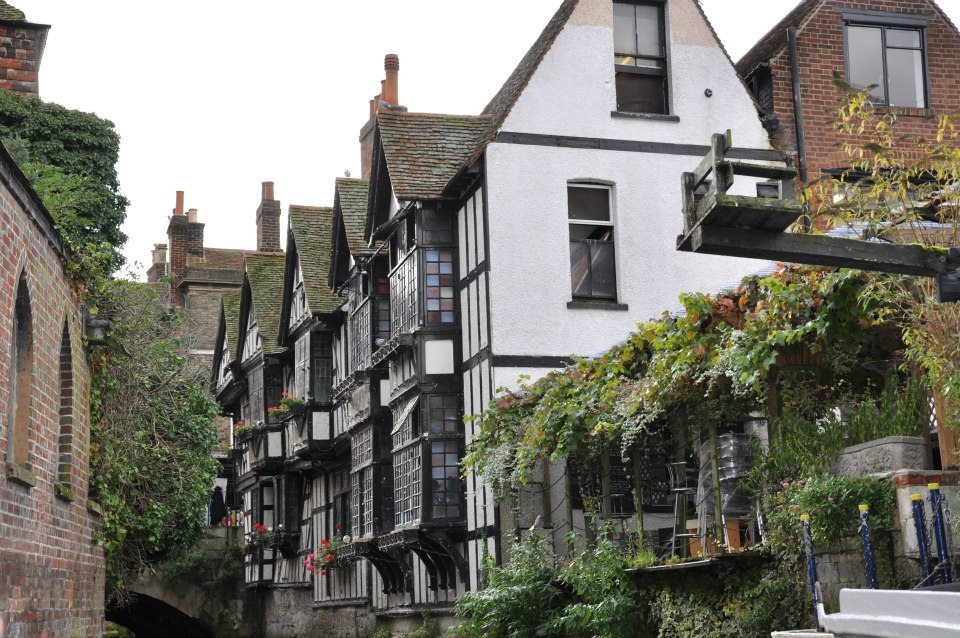 The Old Weavers' House, Canterbury seen from water, Kent, UK