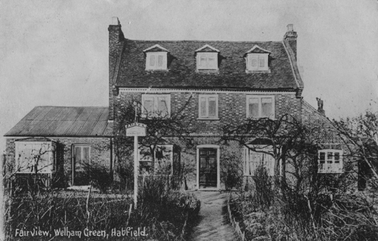 Postcard of Fairview, Welham Green in the 1910s - Image from P Miller