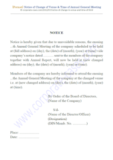 notice of change of date and venue of annual general meeting