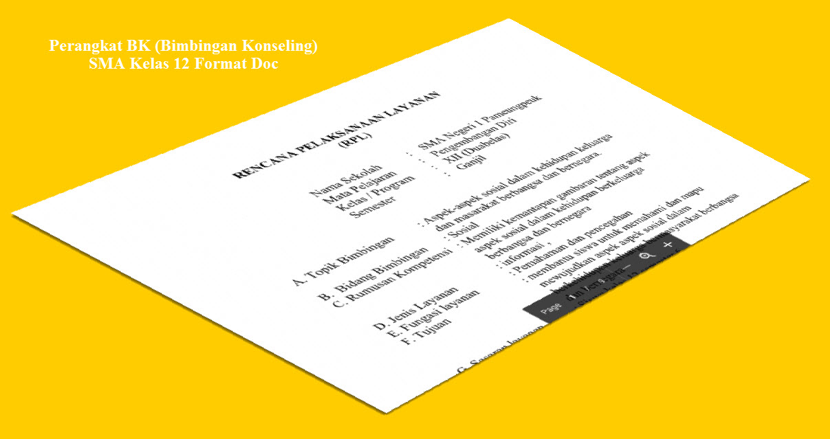 Perangkat Guru BK SMA Kelas 12 Lengkap dengan Microsoft Office Word