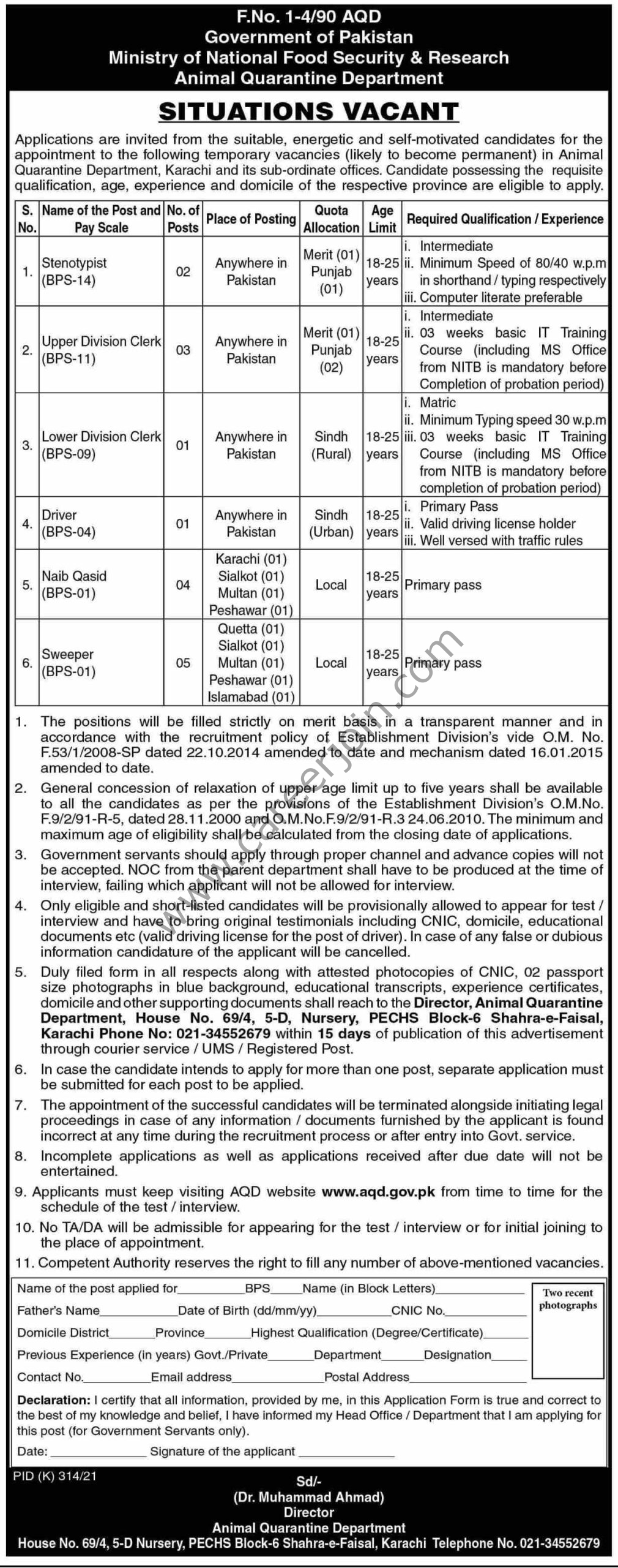 Ministry Of National Food Security & Research Jobs August 2021