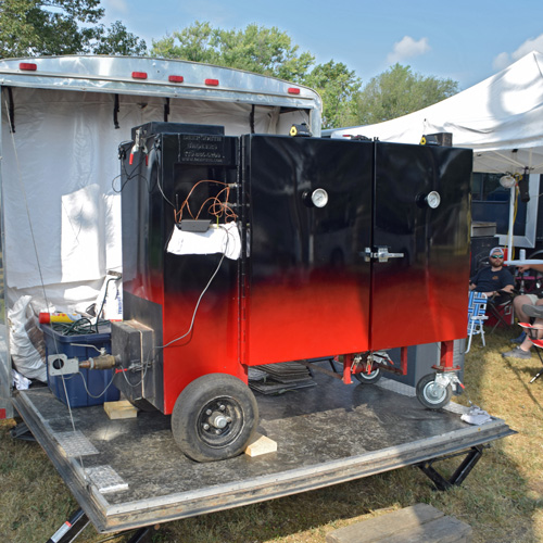Deep South Smokers gravity fed smoker at 2019 Praise The Lard BBQ Contest