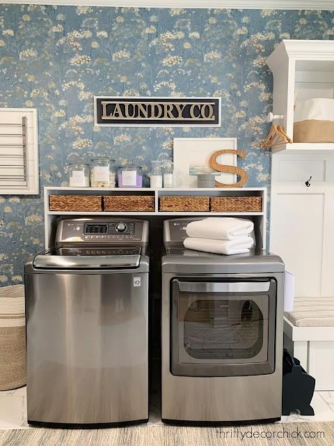 Pretty laundry room storage shelf