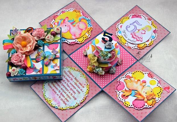niespodzianka na urodziny, prezent dla dziewczynki, explodujące pudełko, Magiczna Kartka inspiracje, tort urodzinowy, prezent na ślub, jak dać pieniądze na ślub, zaskakujący prezent, patchwork, słodki prezent dla dziewczynki