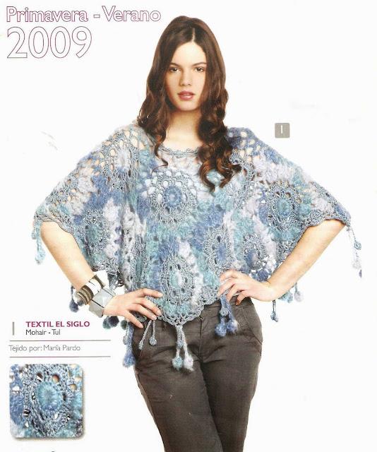 Patrón #1479: Poncho a Crochet