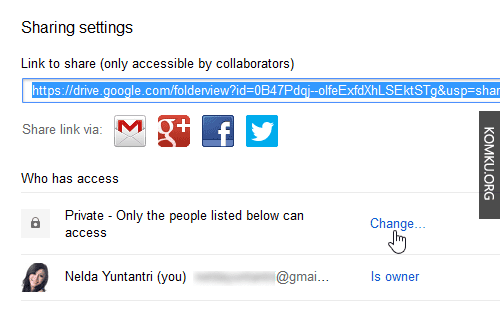 Google Drive - Change Sharing Settings