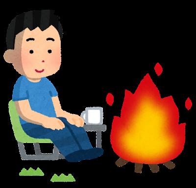 焚き火をしている人のイラスト(夏・男性)
