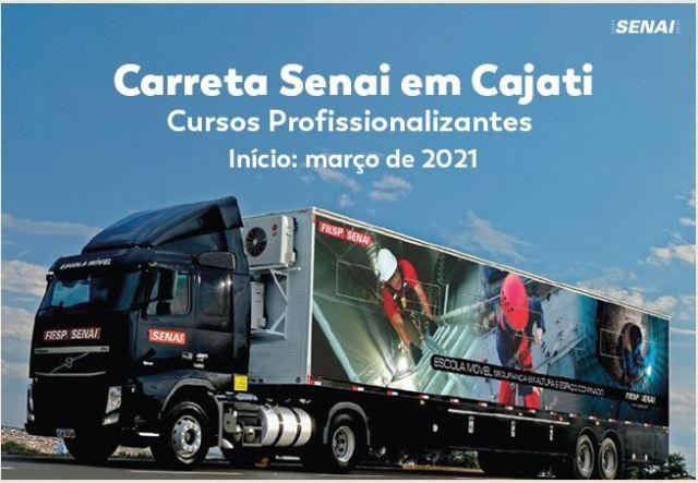 Cajati trará carreta com cursos gratuitos do Senai em 2021