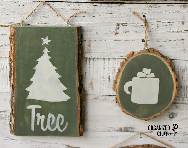 Wood Slice/Live Edge Rustic Christmas Decor Signs #oldsignstencils #stencil #woodslice #signs #stencil #rusticChristmas #bayberrypaint #homesteadhouse #milkpaint