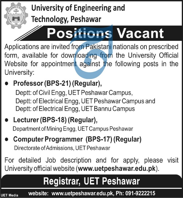 Jobs in University of Engineering and Technology Peshawar 2019
