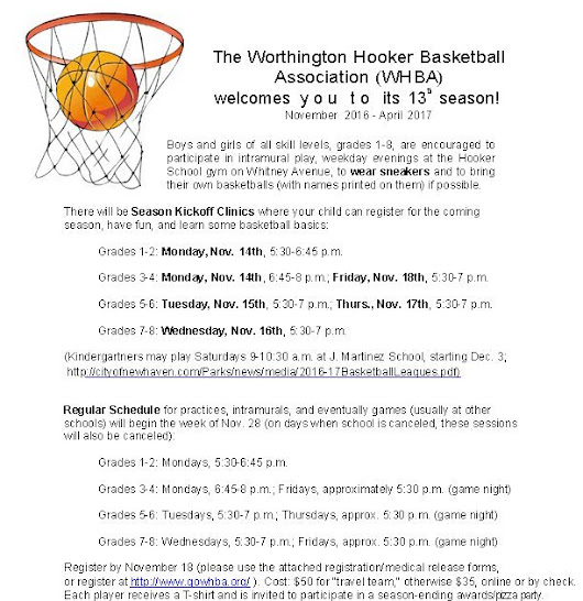 The Worthington Hooker Basketball Association (WHBA) Welcomes You To Its 13th Season November 2016 - April 2017