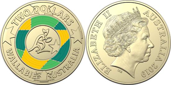 Australia 2 dollars 2019 - Wallabies