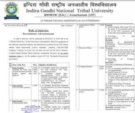 igntu amarkantak recruitment 2017
