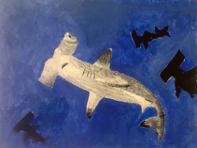 Painting of Hammerhead Shark by Ellis Derkx