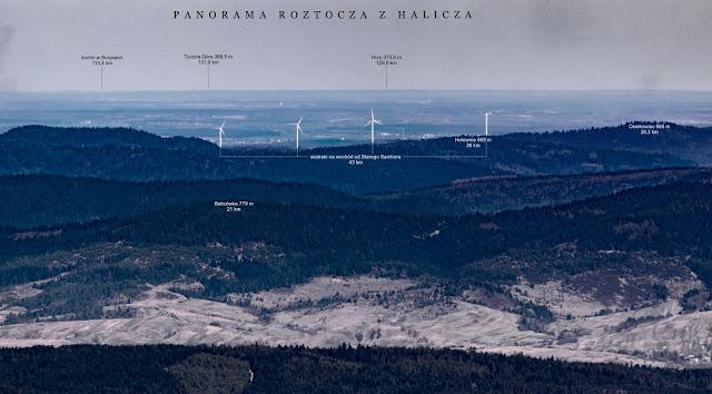 Fragment panoramy z Halicza na Roztocze. Wiatraki koło Starego  Samboraopis Łukasz Wawrzyszko