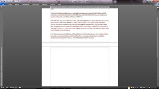 lembar kerja word mengecil