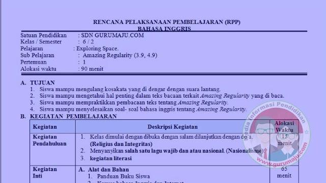 RPP Bahasa Inggris Kelas 6 Semester 2 K13