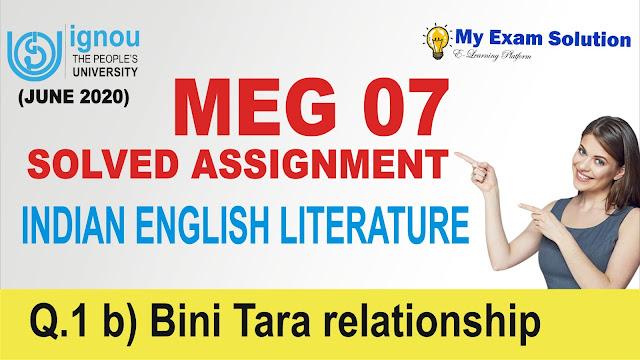 bini tara, meg 07, indian literature, meg ignou free solved assignment
