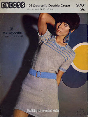 1960s vintage knitting pattern; Mary Quant design; Short-sleeved jumper & skirt, grey with blue stripes.