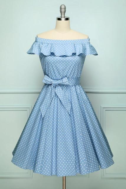 Off-shoulder Polka Dots Dress