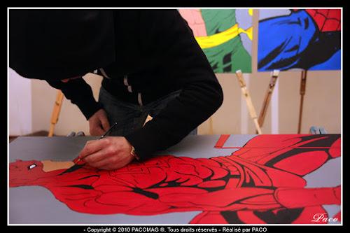 Mises en couleur du dessins de Daredevil sur toile Par Paco illustrateur graphiste, artiste peintre