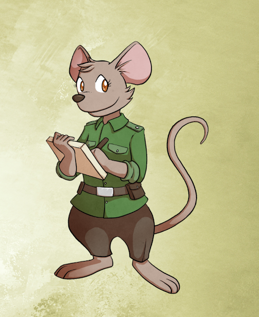 A mouse in a green shirt and brown pants holding a notepad and pencil.