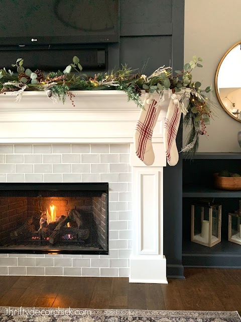white fireplace gray tile surround Christmas