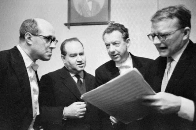 Rostropovich, Oistrakh, Britten and Shostakovich during the festival of British music in Moscow. March 1963.
