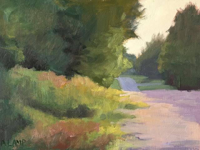 Evening Road painting Jun 26 2019