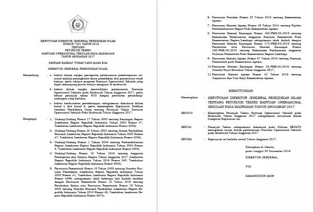 Petunjuk Teknis Bantuan Operasional Sekolah (BOS) untuk Madrasah Tahun Anggaran 2017
