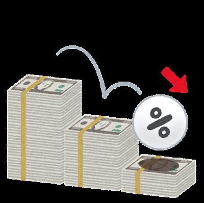 下がる金利のイラスト(ドル)