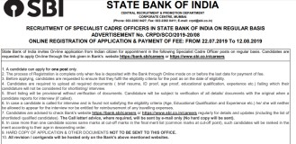 SBI Recruitment for Specialist Cadre Officers