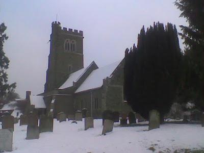 Husborne Crawley Church in the snow