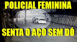 [VÍDEO] POLICIAL FEMININA REAGE ASSALTO E SENTA O AÇO EM LADRÕES