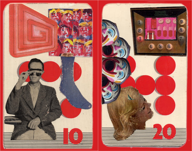 Collages made on old JITTERS board game cards