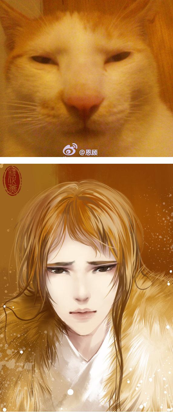 Kot narysowany jako kobieta z anime 04