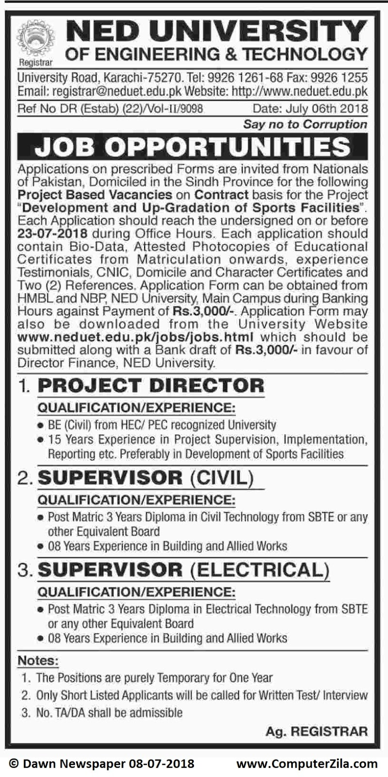 Job Opportunities at NED University of Engineering & Technology