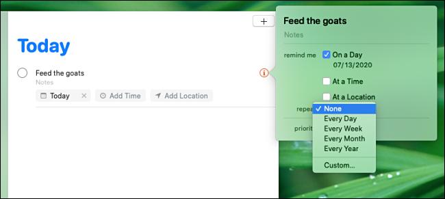 تعيين الفاصل الزمني لتكرار التذكير في تطبيق Remindes على جهاز Mac