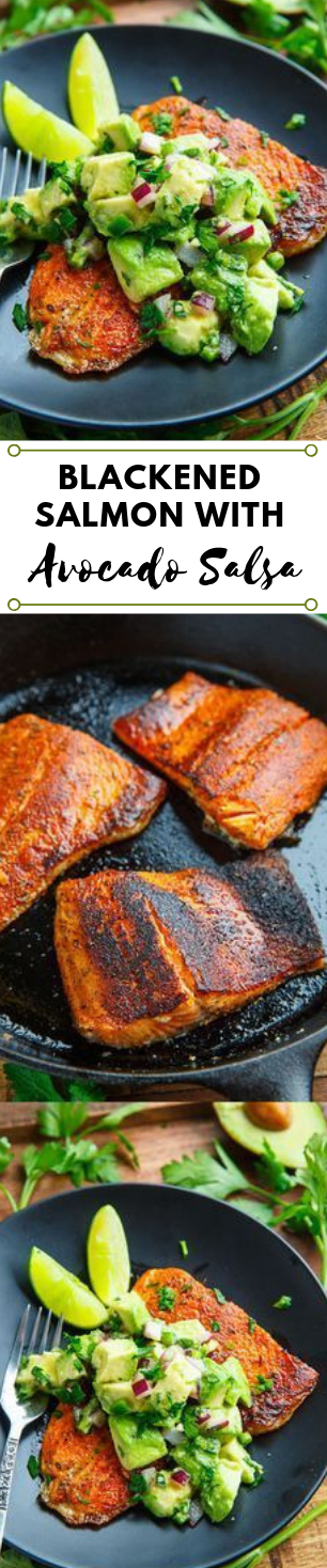 Blackened Salmon with Avocado Salsa #dinner #avocado #salmon #healthylunch #food