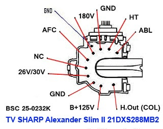 Data Pin Out Flyback BSC 25-0232K TV SHARP Alexander Slim II 21DXS288MB2