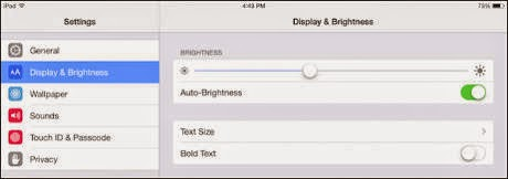 Setting Brightness on iPad