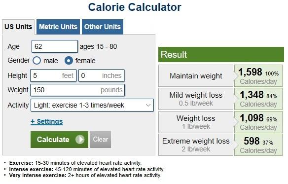 https://www.calculator.net/calorie-calculator.html?ctype=standard&cage=68&csex=m&cheightfeet=5&cheightinch=6&cpound=170&cheightmeter=150&ckg=150&cactivity=1.375&cmop=0&coutunit=c&cformula=m&cfatpct=20&printit=0