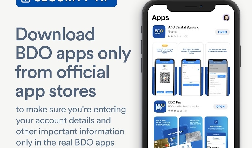 BDO reminds clients to download its mobile apps only from official app stores.