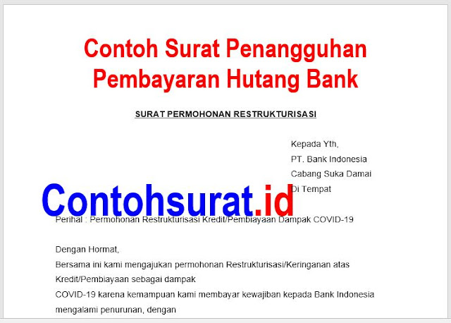 Contoh Surat Penangguhan Pembayaran Hutang Bank