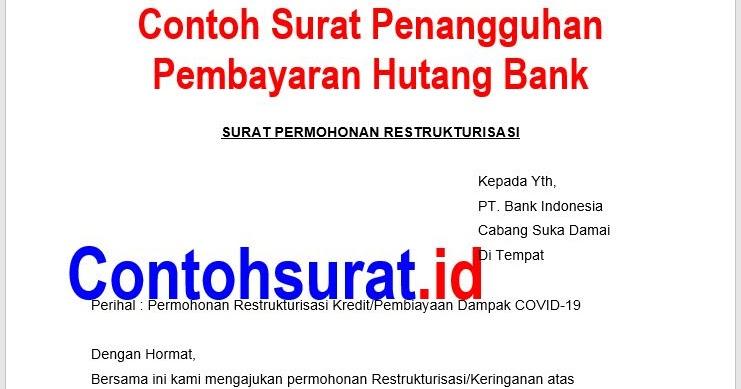 Contoh Surat Penangguhan Pembayaran Hutang Bank ...